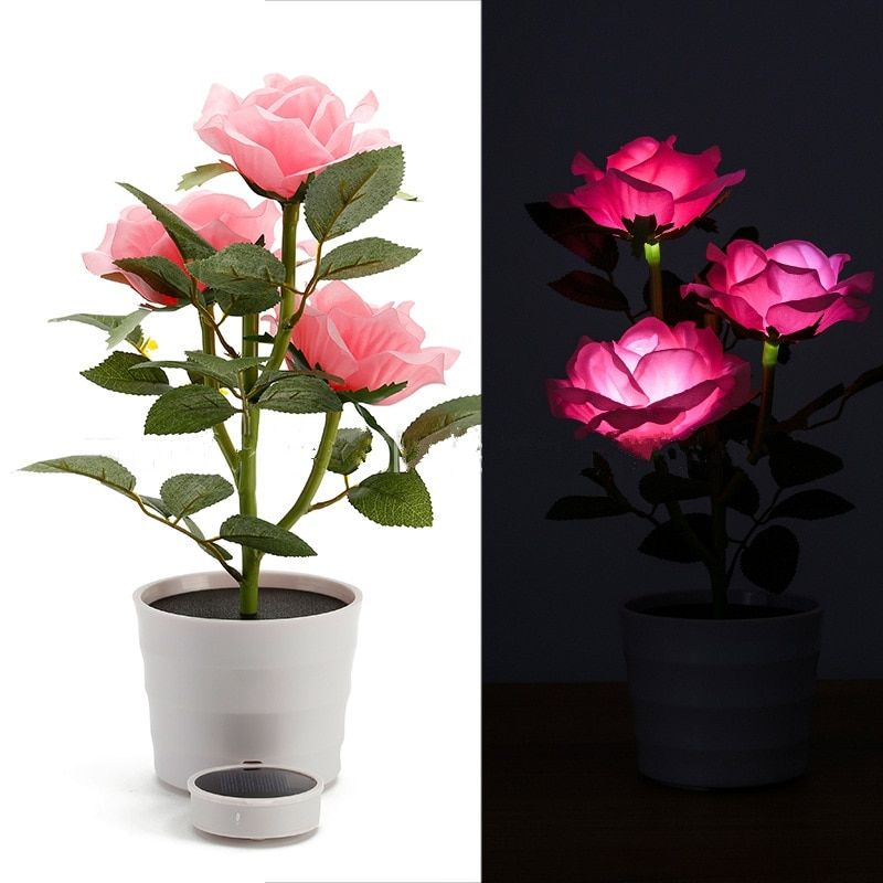 Luminaria LED Solar Powered Simulation Rose Desk Lights Wedding Party Garland Garden Outdoor Home Table Night Lamp Decoration