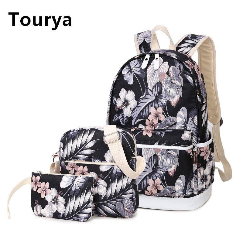 Tourya 3 pièces/ensemble sac à dos femmes fleur impression sacs à dos sacs d'école sac à dos pour adolescents filles ordinateur portable sac à dos voyage sac à dos