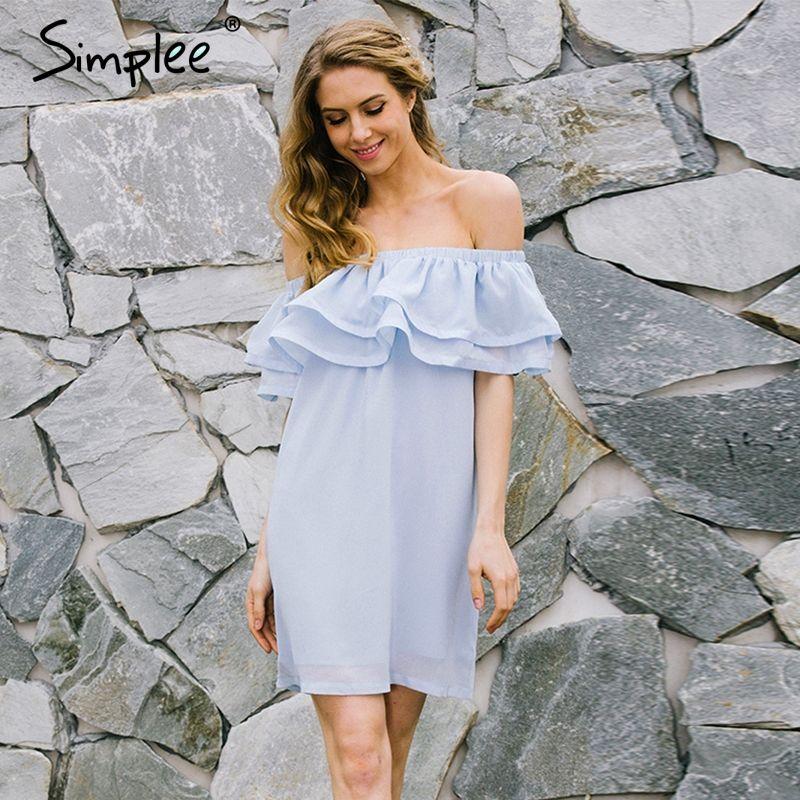 Simplee Chiffon ruffle short dress women Off shoulder sleeveless beach summer dress <font><b>2017</b></font> Lining elastic band sexy dress vestidos