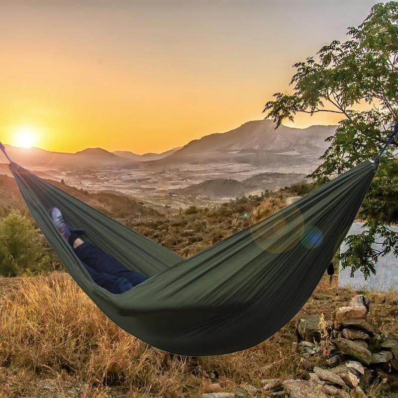 240x170cmSingle Double hamac adulte en plein air sac à dos voyage survie chasse lit de couchage Portable avec 2 sangles 2 mousqueton