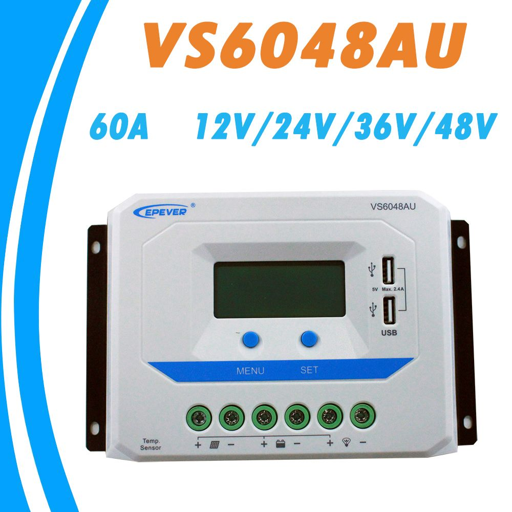 EPEVER 60A Solar Controller 12V 24V 36V 48V Auto VS6048AU PWM Charge Controller with Built in LCD Display and Double USB 5V Port