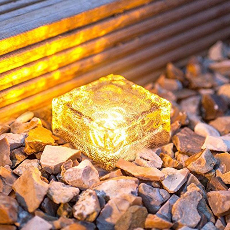 Frosted Glass Brick Paver Garden Light(1 unit ), 4 LED, Waterproof Ice Cube Rocks Solar light for Outdoor Path Road Square Yard