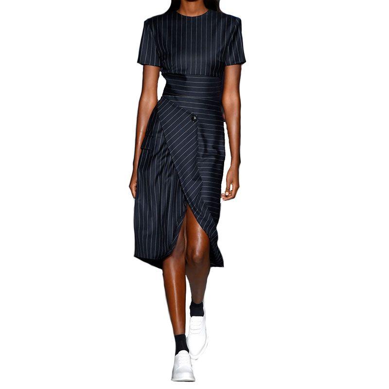 Été dépouillé OL Slim bureau dame asymétrique fente robes 2019 nouvelles femmes piste Designer élégant Chic robe femme Vestidos