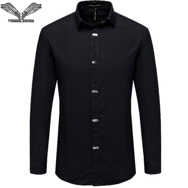VISADA JAUNA Hommes Chemises 2017 Automne Nouvelle Arrivée de Style Britannique Casual Manches Longues Solide Mâle Affaires Slim Fit Chemise 4XL N511