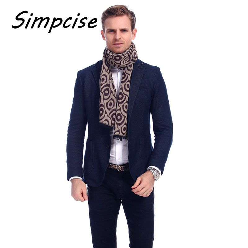 [Simpcise] Design Fashion Totem Print Men Scarf 2017 Winter Male Scarves Man Unisex Scarf Extra Long Wraps A3A18921