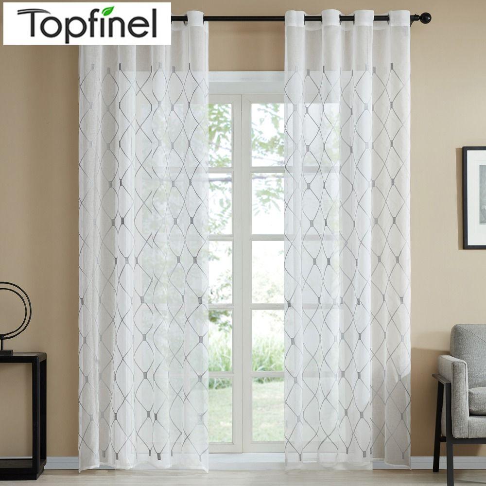 Topfinel Design géométrique rideaux transparents Tulle rideaux de fenêtre pour cuisine salon chambre Tulle Voile café rideaux blanc