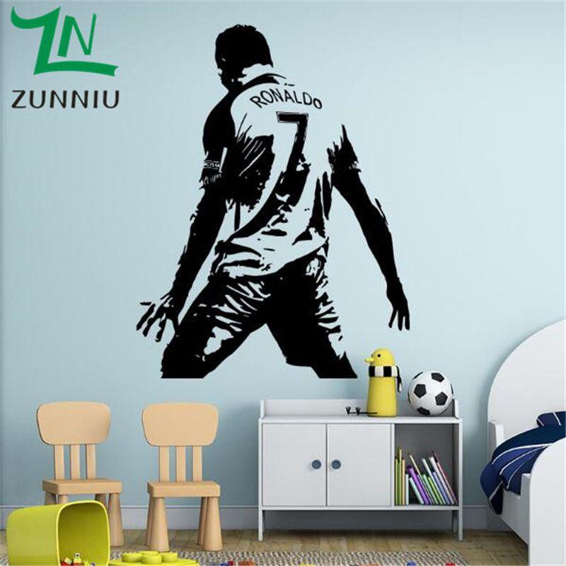 K017 плеер рисунок стены Стикеры Винил DIY Home Decor Football Star Наклейки Футбол спортсмен для детской комнаты мальчика стены спальни стикер