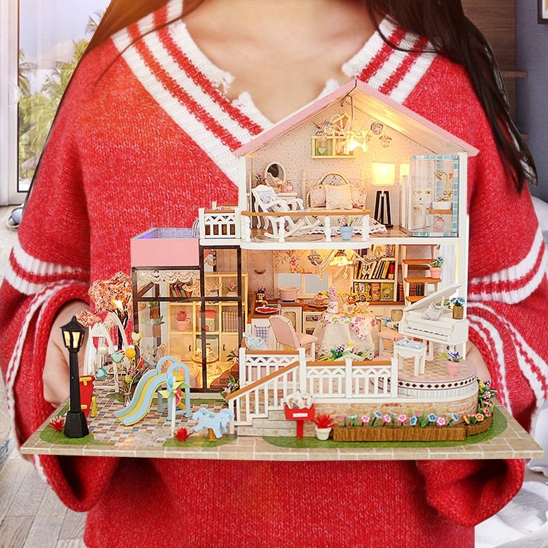 Large Size Doll House CASA DE BONECA Miniature Diy Puzzle Toy Model Wooden Furniture Toys Birthday Gifts Sweet Word Dollhouse