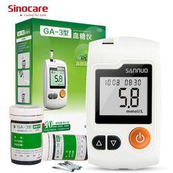 Sinocare GA-3 Sannuo Meteran Glukosa Darah 50 tiras glucosa Strip Tes Peralatan Medis Botol 50 Lancets Glucometer medidor Diabetes Tester