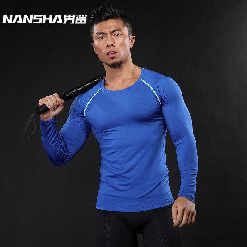 NANSHA Muscle hommes Compression chemises T-shirt manches longues thermique sous le haut MMA Rashguard Fitness couche de Base musculation