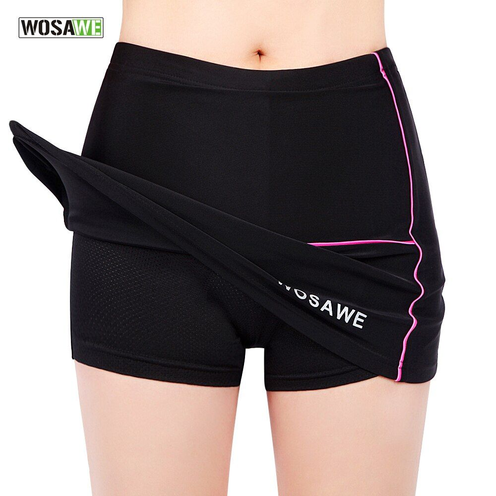 Wosawe womens girls bicicleta de la bici mini falda plisada falda pantalones cortos negro