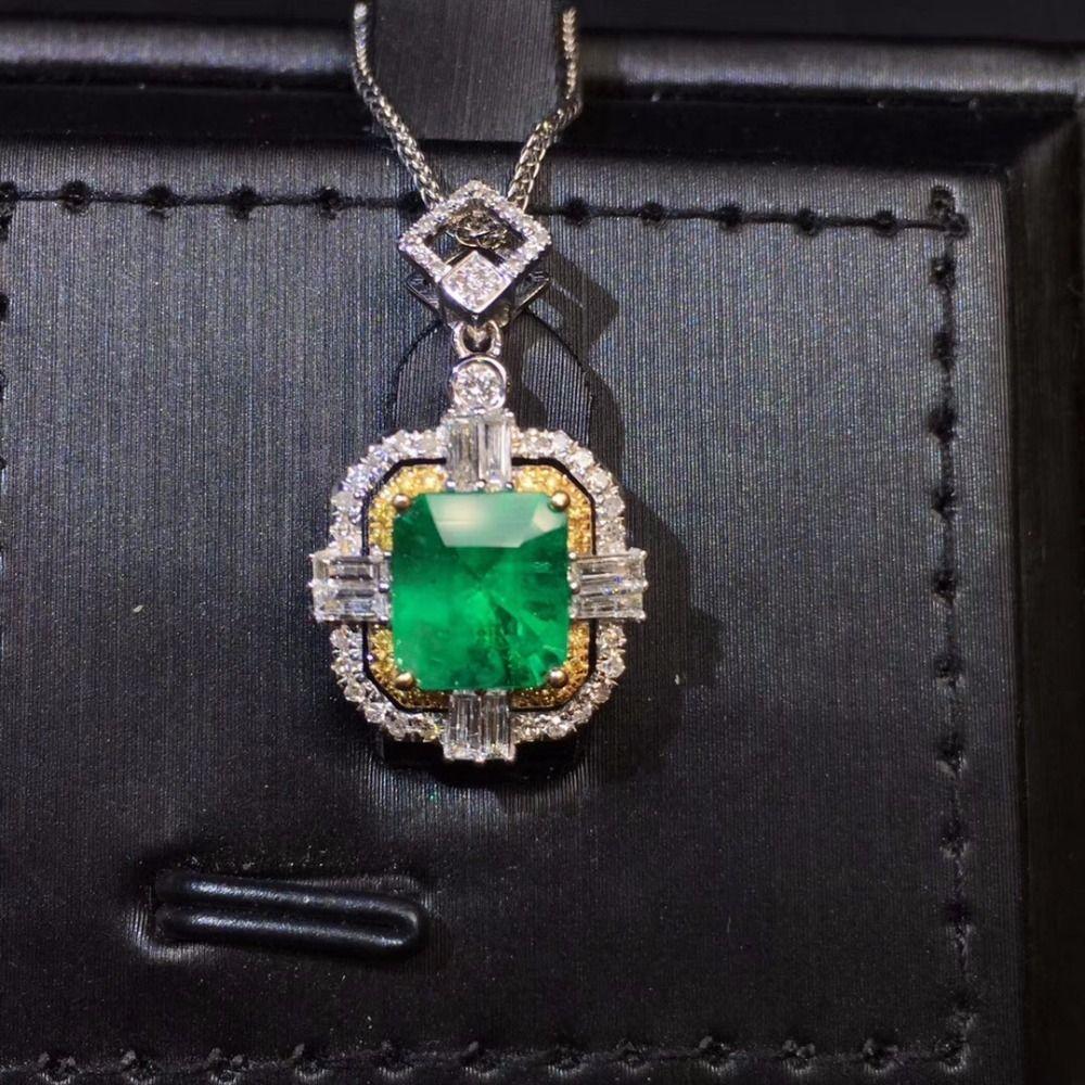 Feine Schmuck AIGS Zertifikat Echt 18 K Weiß Gold AU750 Natürliche Grüne Smaragd 1.29ct Edelsteine Anhänger für Frauen Feine Halskette