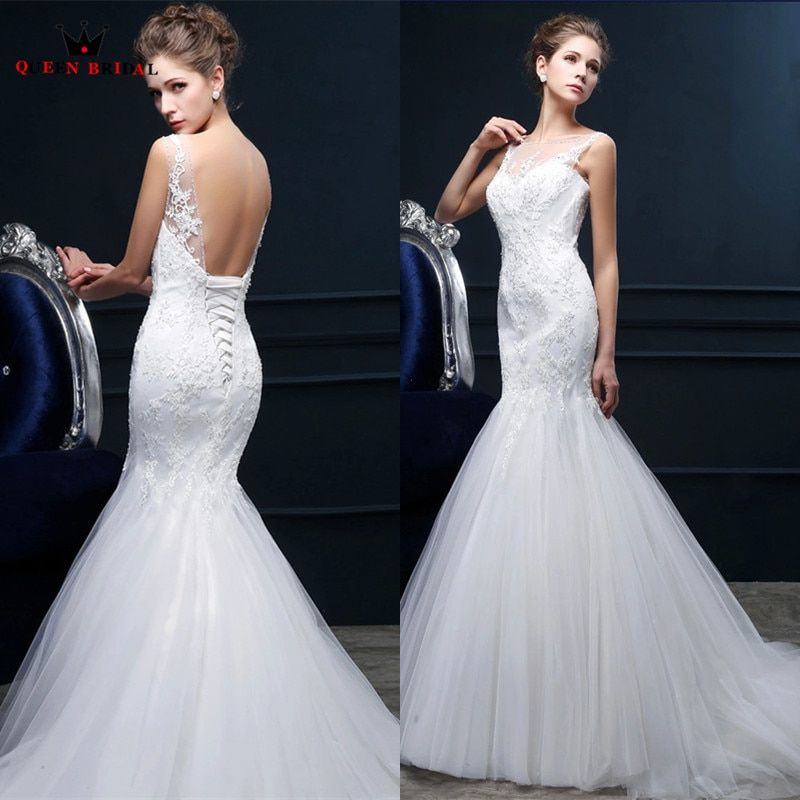 Custom Made Wedding Dresses Bride Mermaid Backless Lace Beading Long Sexy Robe De Mariee 2018 New Real Wedding Gown TS14M