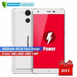 Ulefone Power Mobile Phone 5.5 Inch FHD MTK6753 Octa Core Android 6.0 3GB RAM 16GB ROM 13MP Camera 4G LTE Fingerprint ID 6050mAh