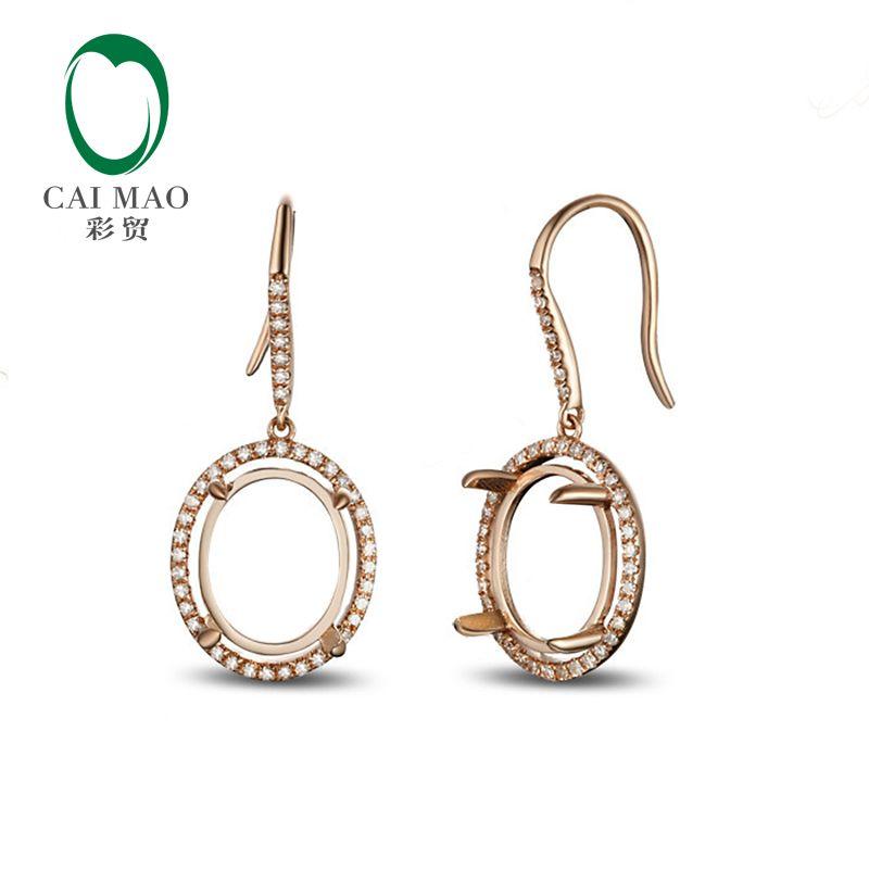 Caimao 9x11mm Oval Cut 14k Rose Gold Diamond Engagement Semi Mount Earrings Free Shipping