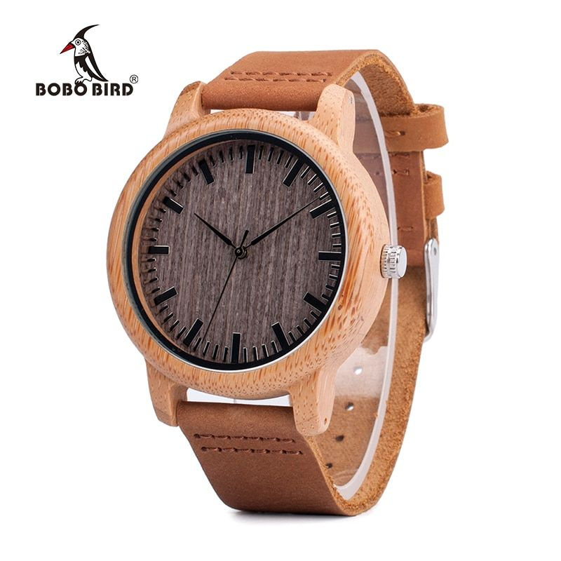 BOBO BIRD V-A18 Top Brand Wood Watches Men Casual Bamboo Quartz <font><b>Wristwatch</b></font> Leather Strap Relogio Masculino Hombre