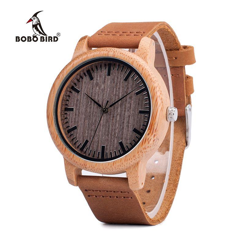 BOBO OISEAU V-A18 Top Marque Bois Montres Hommes Casual Bambou Quartz Montre-Bracelet Bracelet En Cuir Relogio Masculino Hombre