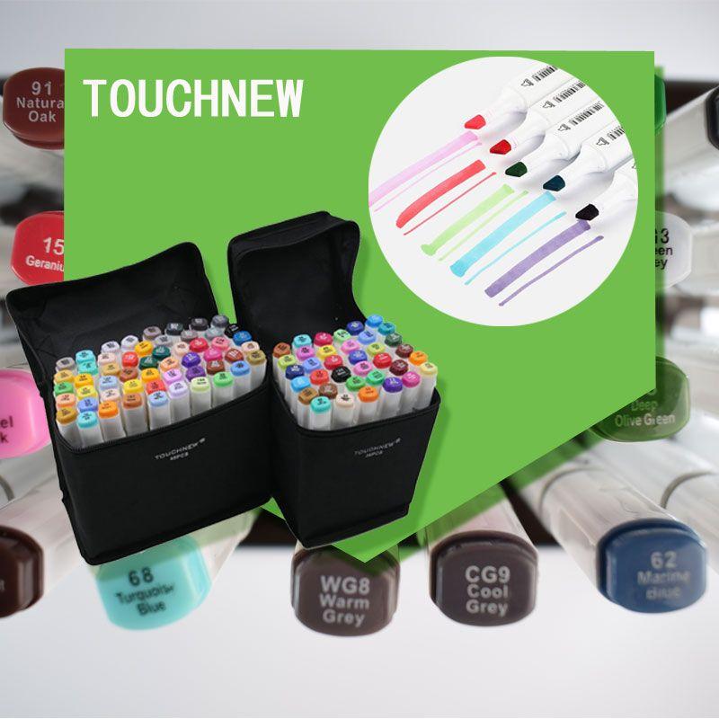 Touchnew 60 цветов арт маркер художественный эскиз двойные советы на спиртовой основе Профессиональный Рисунок Живопись Copic маркеров