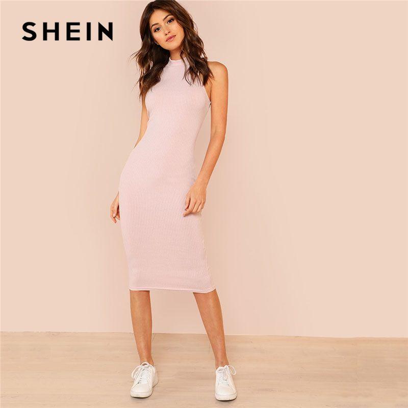SHEIN Pink Mock Neck Rib Knit Plain Pencil Dress Women <font><b>Stand</b></font> Collar Sleeveless Slim Dress 2018 Elegant Going Out Bodycon Dress