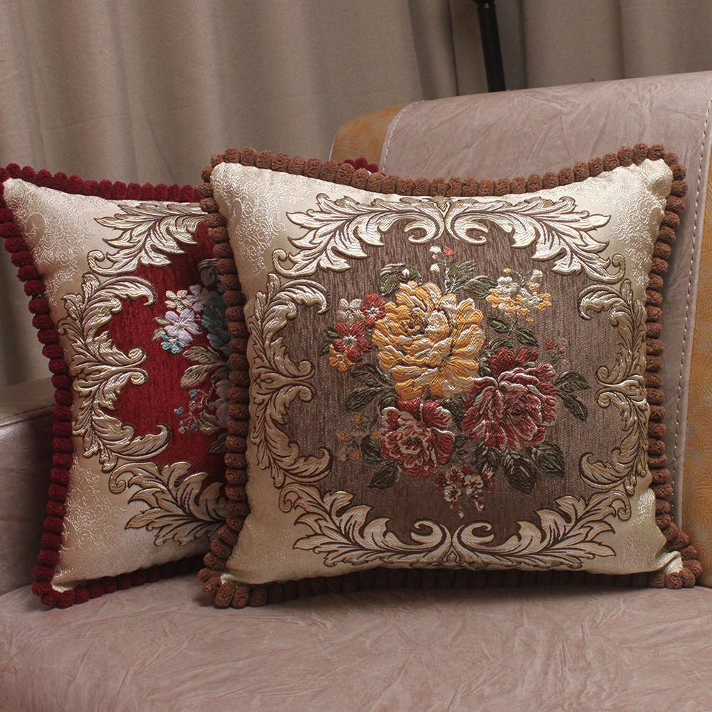 CURCYA Chenille tissu Jacquard brodé coussin couvre Royal élégant classique Floral maison décoratif luxe taie d'oreiller