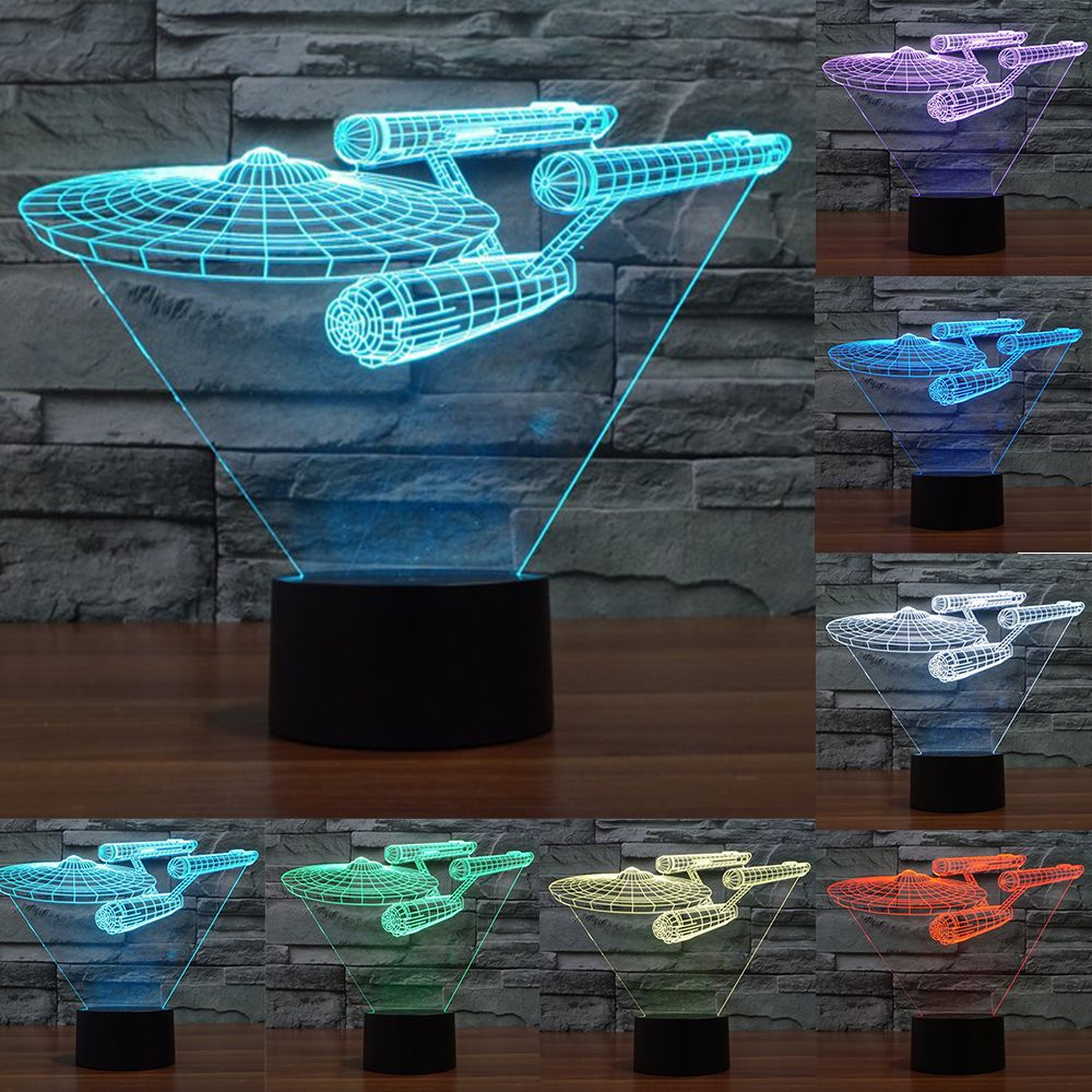 Enterpris 7 Color <font><b>change</b></font> Star Trek 3D Trek battleship lamp colorful LED visual atmosphere deco lamp touch switch light IY803318