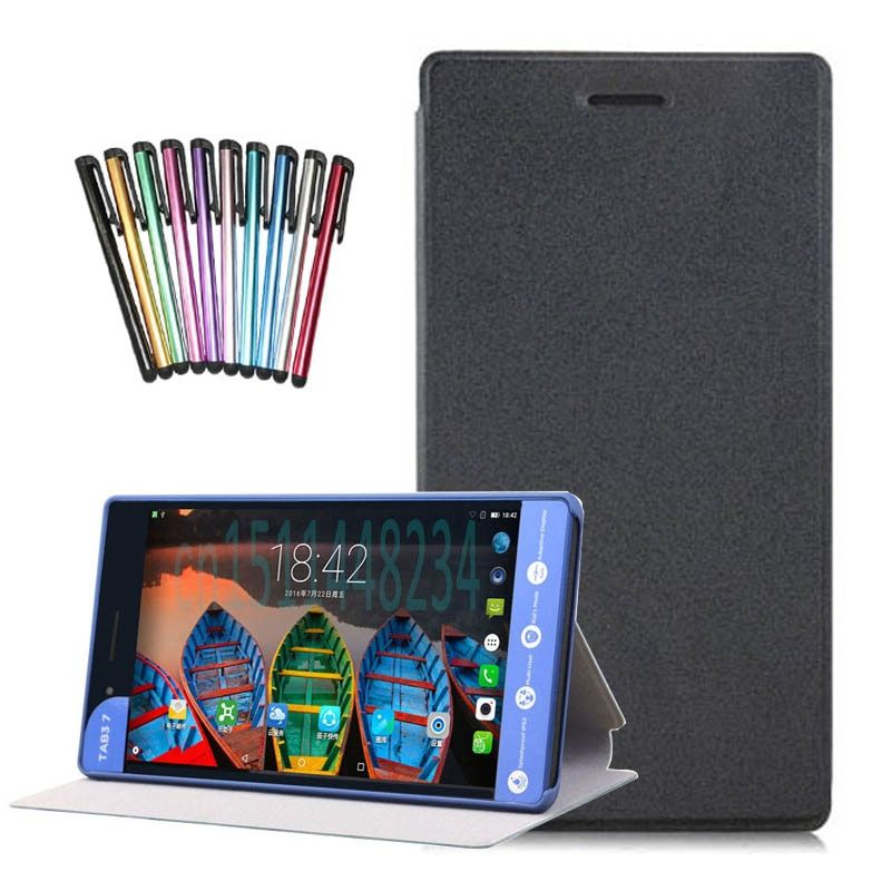 PU leather Magnet stand case cover For Lenovo Tab 3 730F 730M 730X 7 inch tablet covers cases for TB3-730F+screen protector +pen