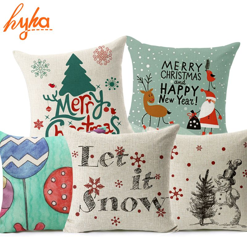 Hyha Let It Snow Xmas Style Cushion Cover Merry Christmas! Santa Claus Socks Balloon Home Decorative Pillows Cover Nordic