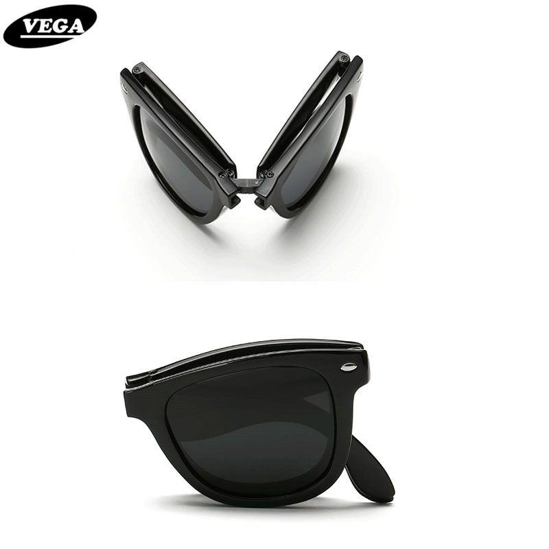 VEGA Polarisierte Folding Sonnenbrille Männer Frauen Faltbare Sonnenbrille Weiblich Männlich Hipster Faltbrille Kunststoffrahmen 140