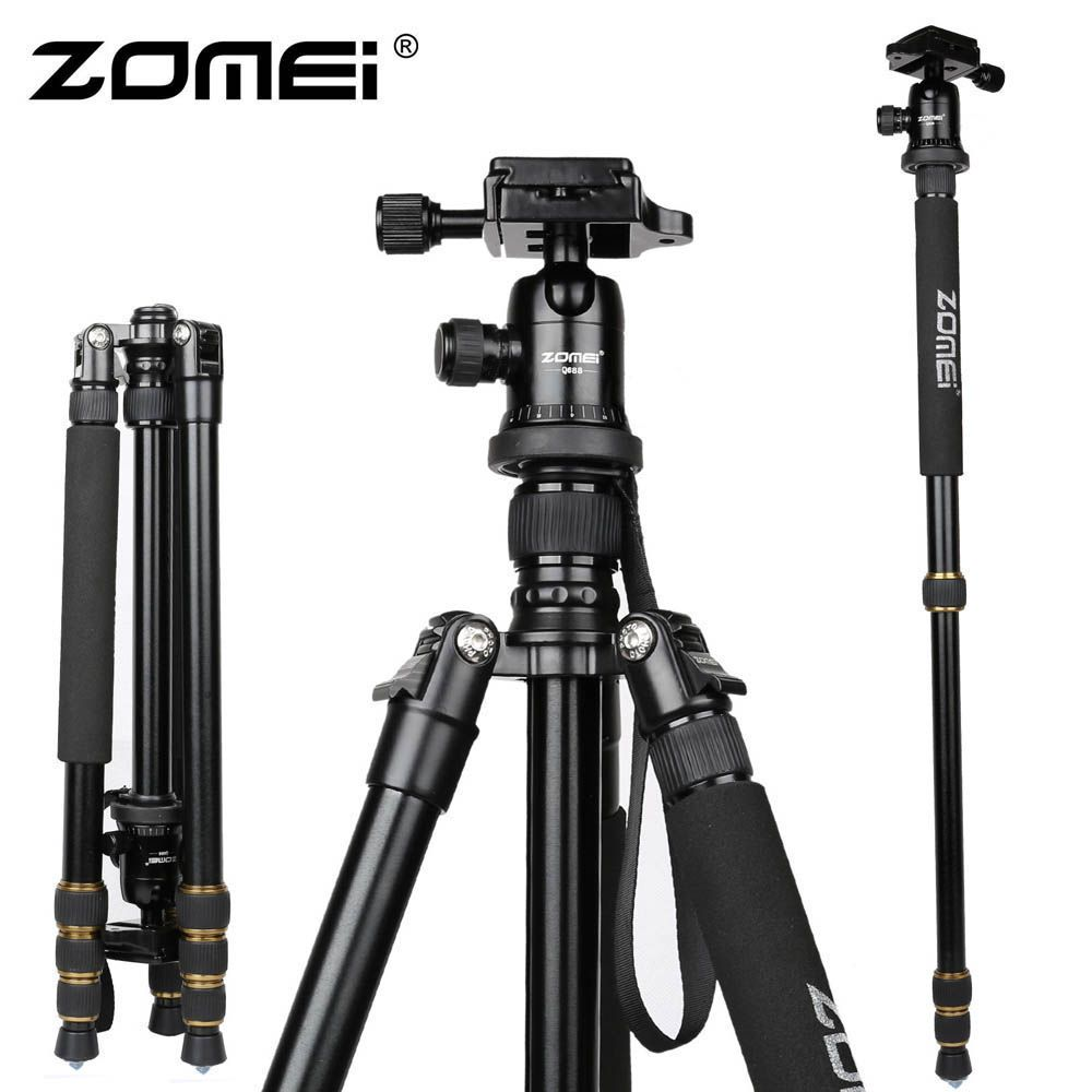 New Zomei Z688 Aluminum Professional Tripod Monopod + Ball Head For DSLR Camera / <font><b>Portable</b></font> SLR Camera stand / Better than Q666