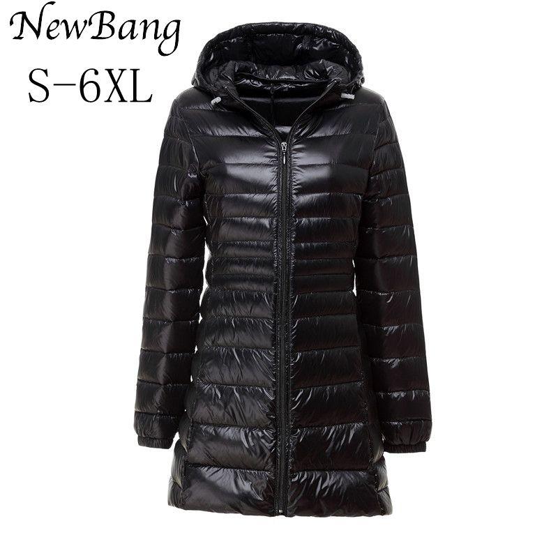 NewBang Brand Plus 5XL 6XL Ladies Coats Long Winter Warm Down Coat Ultra Light Down Jacket Women Women's Windbreakers Outerwear