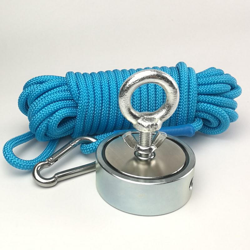 300KG Double side Neodymium Fishing Magnet with Rope D74*28mm Salvage Searching Detecting Recovery Metal Treasure Finder
