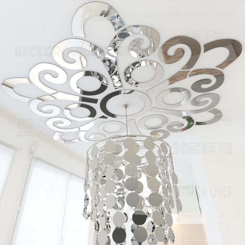 Fleur fleurs motif réfléchissant 3D plafond miroir décoratif mur autocollant Mural salon chambre décoration décor à la maison R047