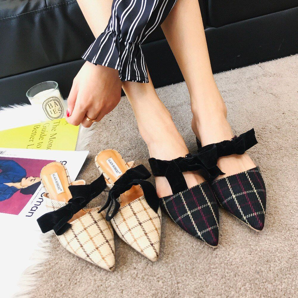 Moxxy Autumn Genuine Leather Mules Slippers Women Pumps Pointed Toe Flats Butterfly Loafers Flip Flops Casual Shoes Woman Black