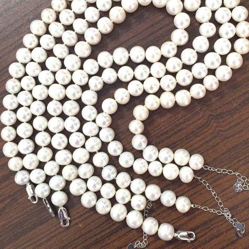 MeiBaPJ 10-11mm Grand Naturel Perle Collier Perle Perles Blanc Collier Offre Spéciale Super Mère de Cadeau De Mariage bijoux XL-063