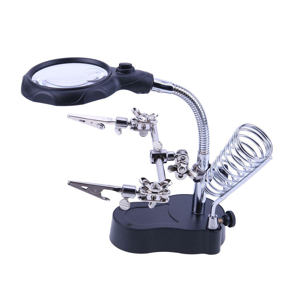 Loupe de soudage avec lumière LED 3.5X-12X lentille auxiliaire Clip Loupe de bureau Loupe troisième main outil de réparation de soudure