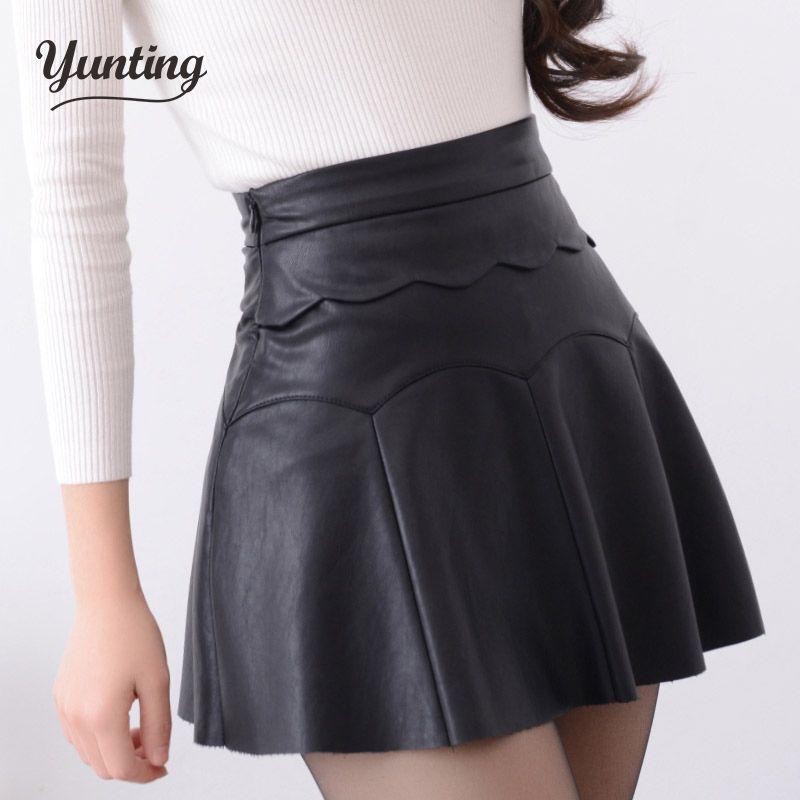2019 Automne Vintage Femmes Mode Coréenne Sexy Plissée Jupe Taille Haute Noir Rouge PU Cuir Jupes Vintage Short Mini Jupes