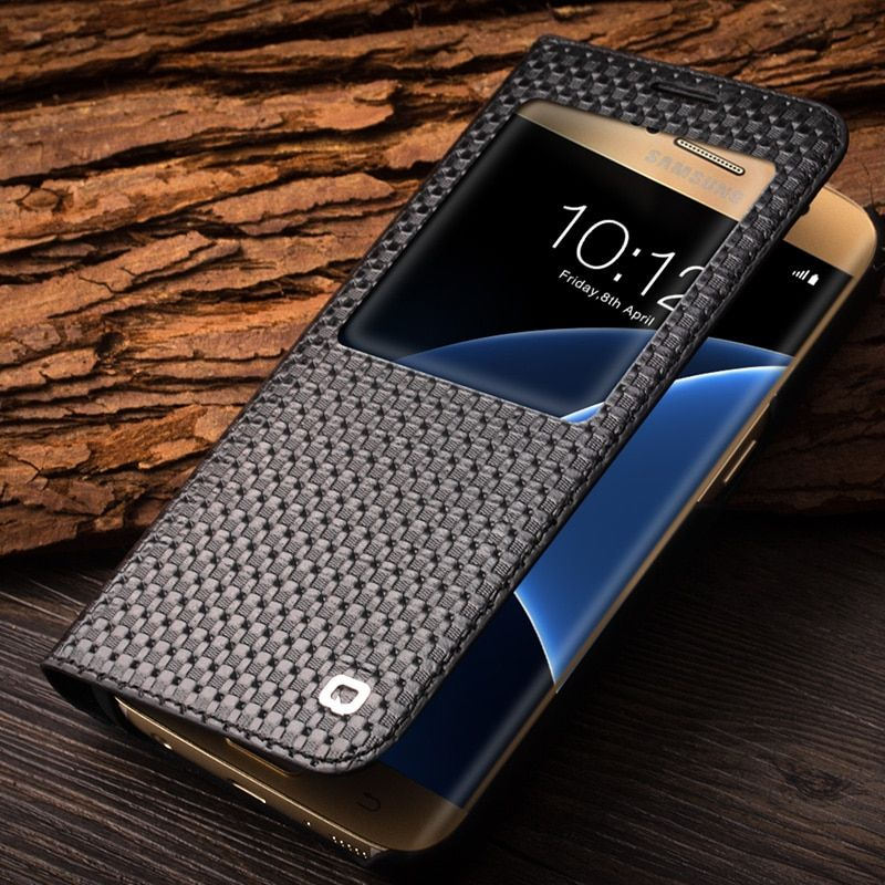 QIALINO 2017 Fashion Pattern Genuine Leather Cover for Samsung Galaxy S7 & S7 edge for G9300 for G9350 Case sleep wake function