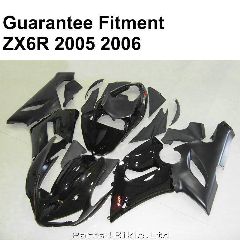 Heißer verkauf verkleidungen für Kawasaki ZX6R 2005 2006 glänzend schwarz verkleidung kit Ninja ZX 6R 636 05 06 spritzguss FU68