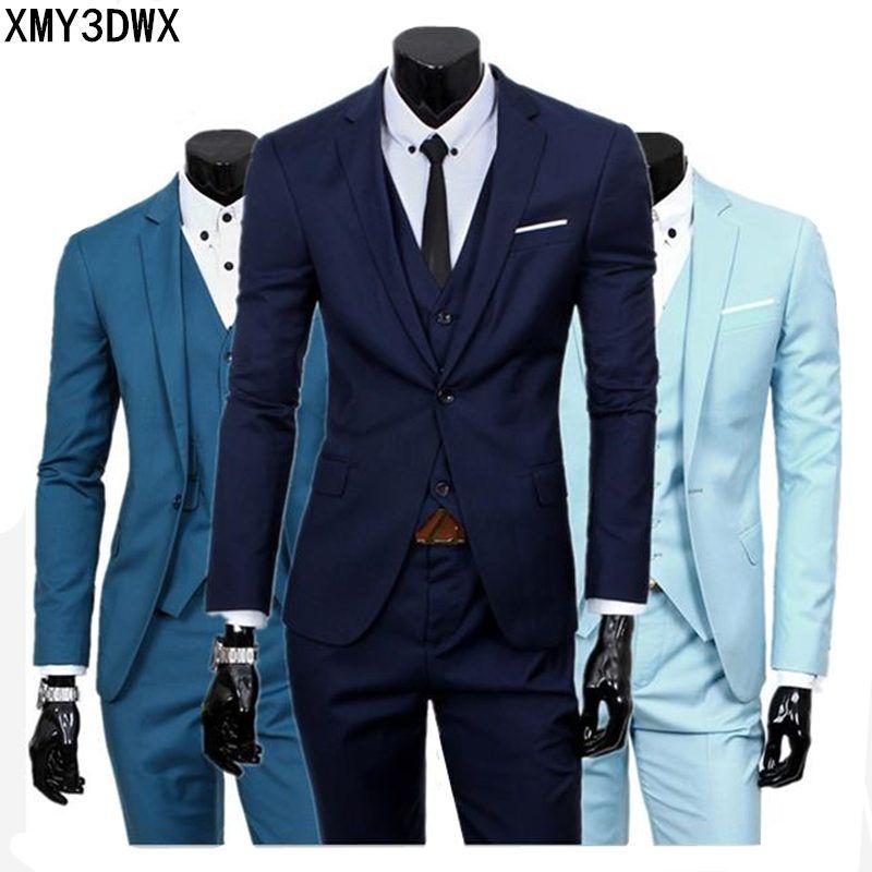 ( jacket + vest + pants ) 2018 Spring Men's Slim Fit Business Three-piece Suits Male groom Party dress /Man Wedding Blazers Sets