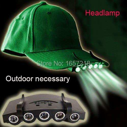Head Lamp 5 LED Head Light Fishing Camping Hunting Hiking Hat Torch Hunt Cap New Type ~no Hat~#LRT15261# 1PCS/Lot
