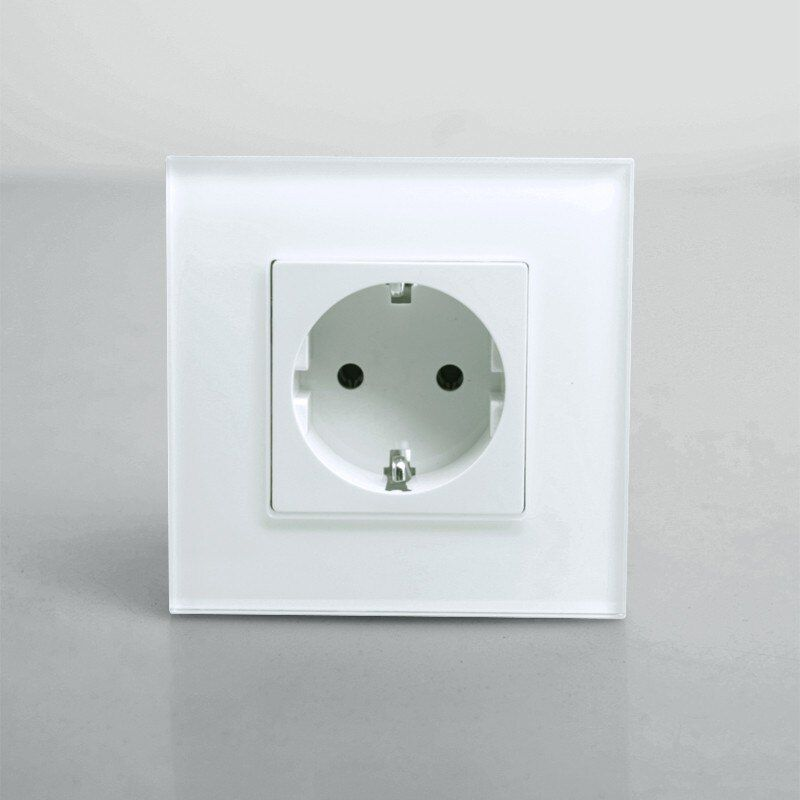 Round Back, EU Power Electric Socket Schuko, White Crystal Glass Panel, 16A EU Standard Wall Outlet Electric Socket