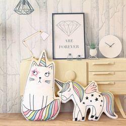 Lindo gato unicornio hipocampo Almohadas peluche decoración Ropa de cama de bebé Almohadas Cojines Niñas Regalo de Cumpleaños almofada