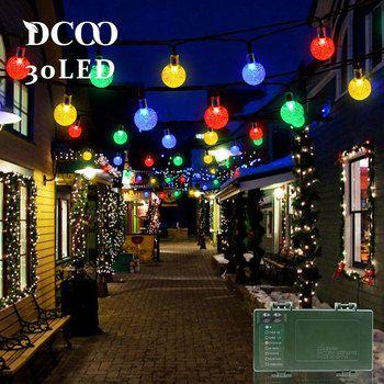 Cadena de luces Dcoo temporizador a batería 30 LED burbuja bola de cristal vacaciones fiesta luces globo cadena de luces al aire libre iluminación
