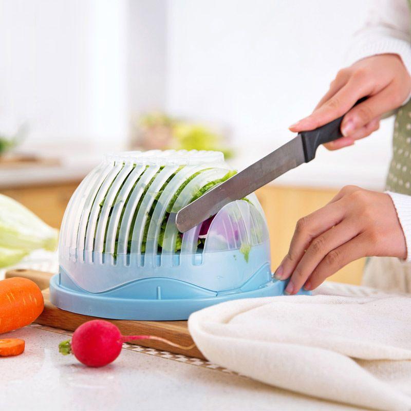 60 deuxième Coupe de Salade Bol Cuisine Gadget Légumes Fruits Trancheuse Chopper la Rondelle Et de Coupe Rapide Salade Maker outil de Cuisine