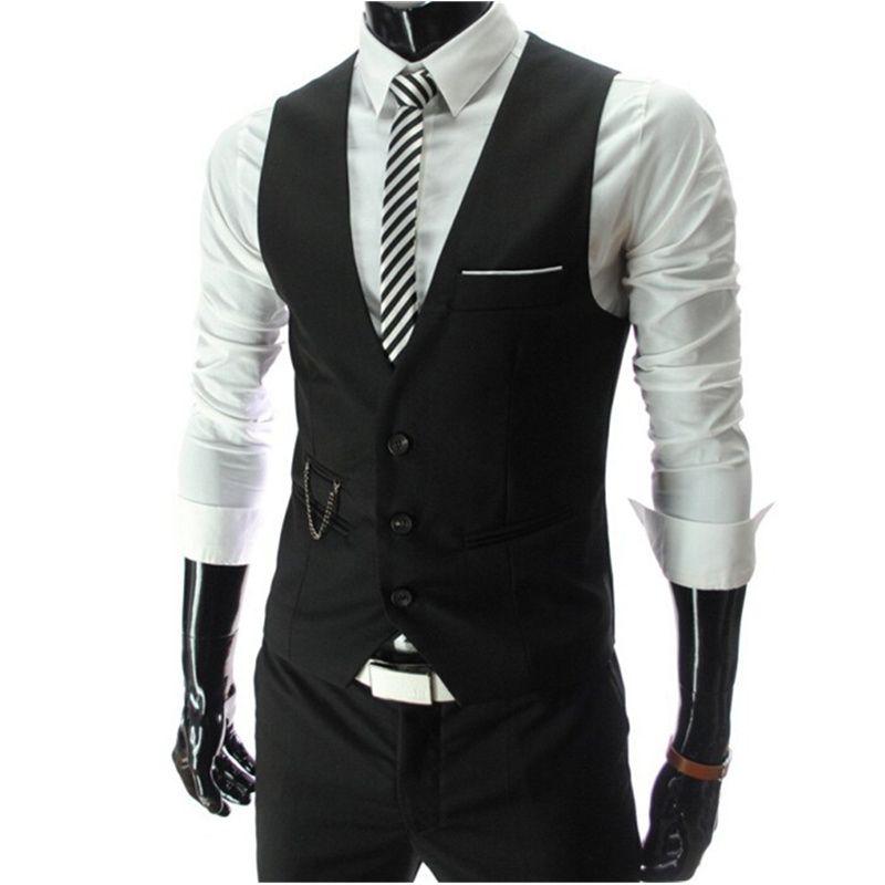 2019 nouveauté robe gilets pour hommes Slim Fit hommes costume Gilet mâle Gilet Gilet Homme décontracté sans manches formelle affaires veste