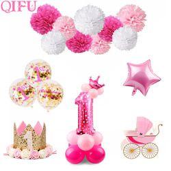 QIFU 1er Fête D'anniversaire Décorations Enfants Fille Rose Premier Anniversaire Décor Bannière D'anniversaire Ballons Un Ans Bébé Douche Décor