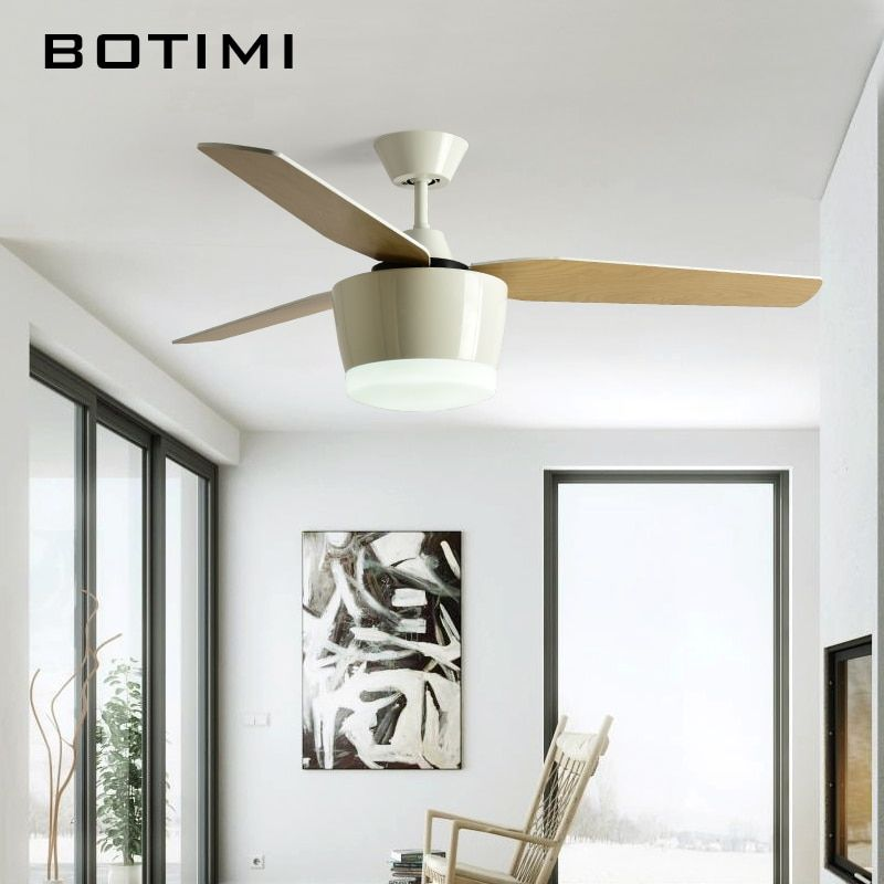Botimi 52 Inch LED Ceiling Fan With Remote For Living Room Ventilador De Teto Ceiling Fans lamp 3 Blades 220V Home Fixtures