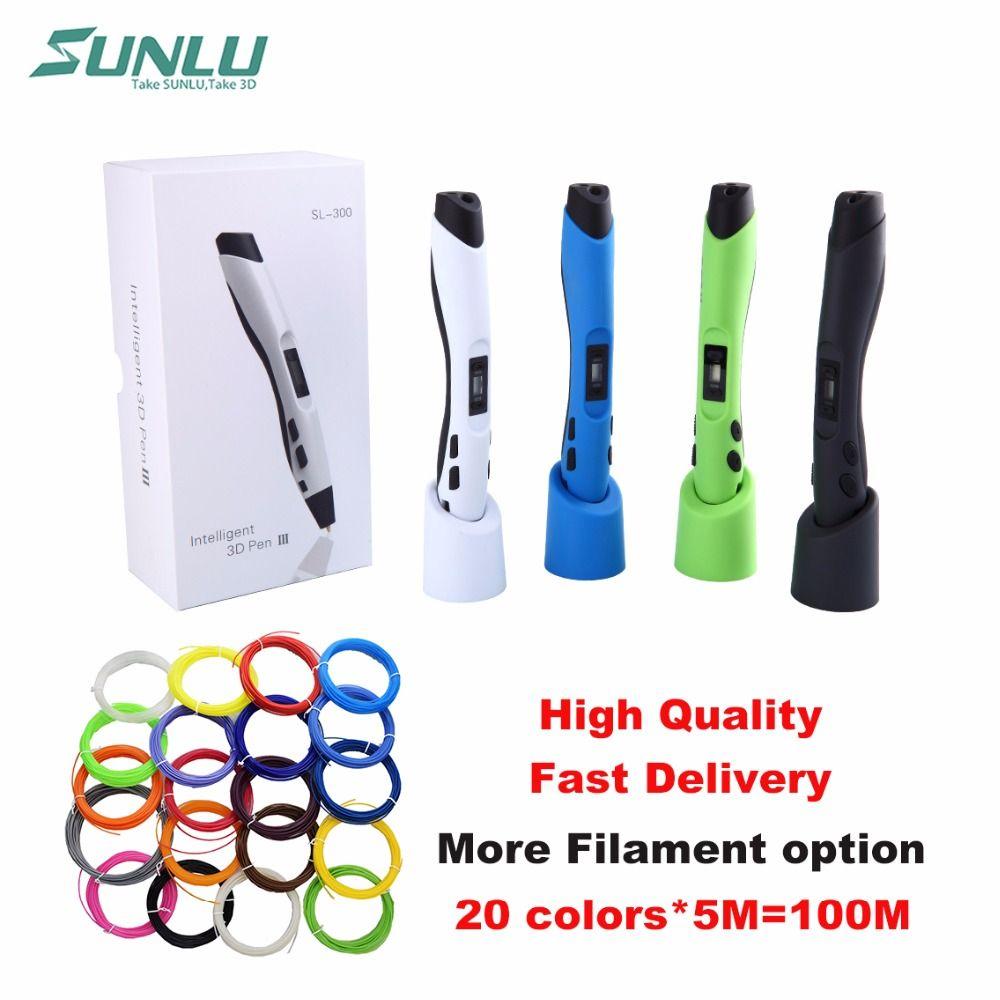 SUNLU SL-300 Niños juguete garabato pluma 3D con 22 bolsas de 5 M PLA filamento y LCD control de temperatura seguro para niños usan