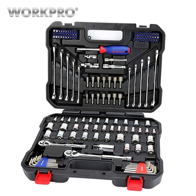 WORKPRO 145PC outils ensemble pour réparation de voiture clés à cliquet 1/4