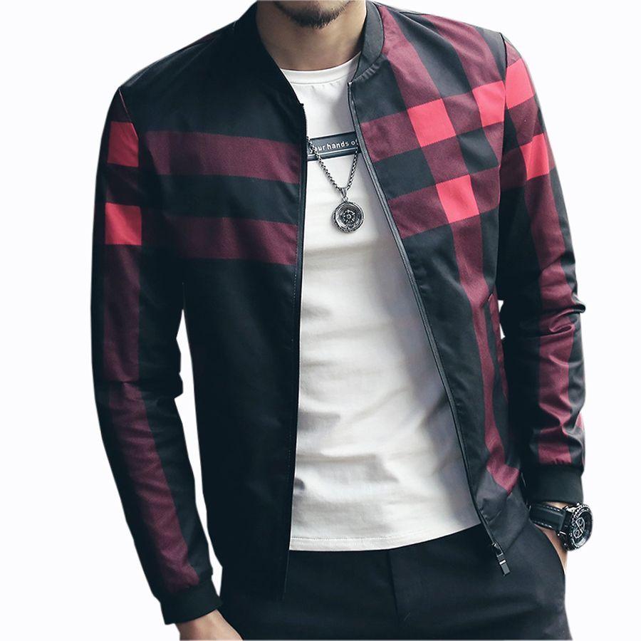 <font><b>Hotsale</b></font> Plaid Jacket Men Bomber Jacket Fashion Slim Mens jackets and Coats Chaquetas Hombres Jaquetas Bomber Plus Size 4XL 5XL